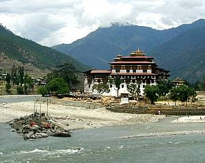 The Punaka Dzong, a monastery and mountain fortress in Bhutan